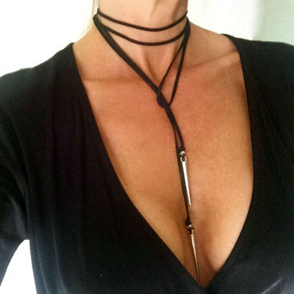 Choker Necklace Women S Sexy Jewelry Leather Long Tie